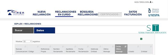 Captura de pantalla de acceso a datos de las reclamaciones en curso de la plataforma SdP-Lex.